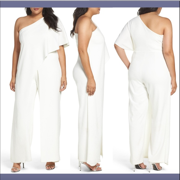 Adrianna Papell Pants - NWT Adrianna Papell One-Shoulder Jumpsuit 24W Plus